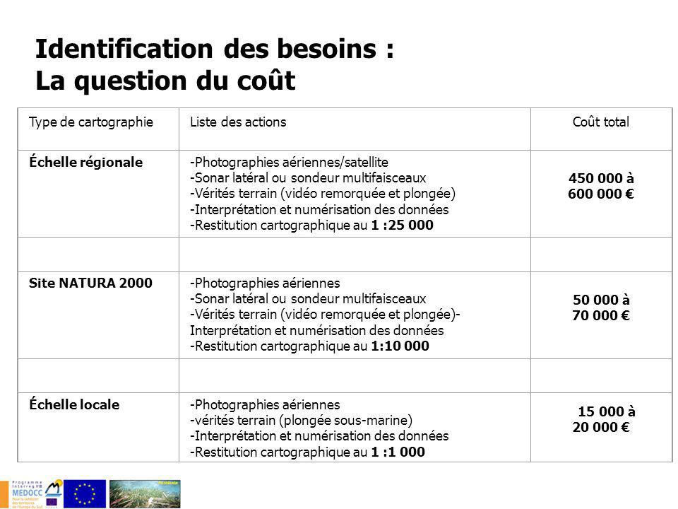 Identification des besoins : La question du coût Type de cartographieListe des actionsCoût total Échelle régionale-Photographies aériennes/satellite -