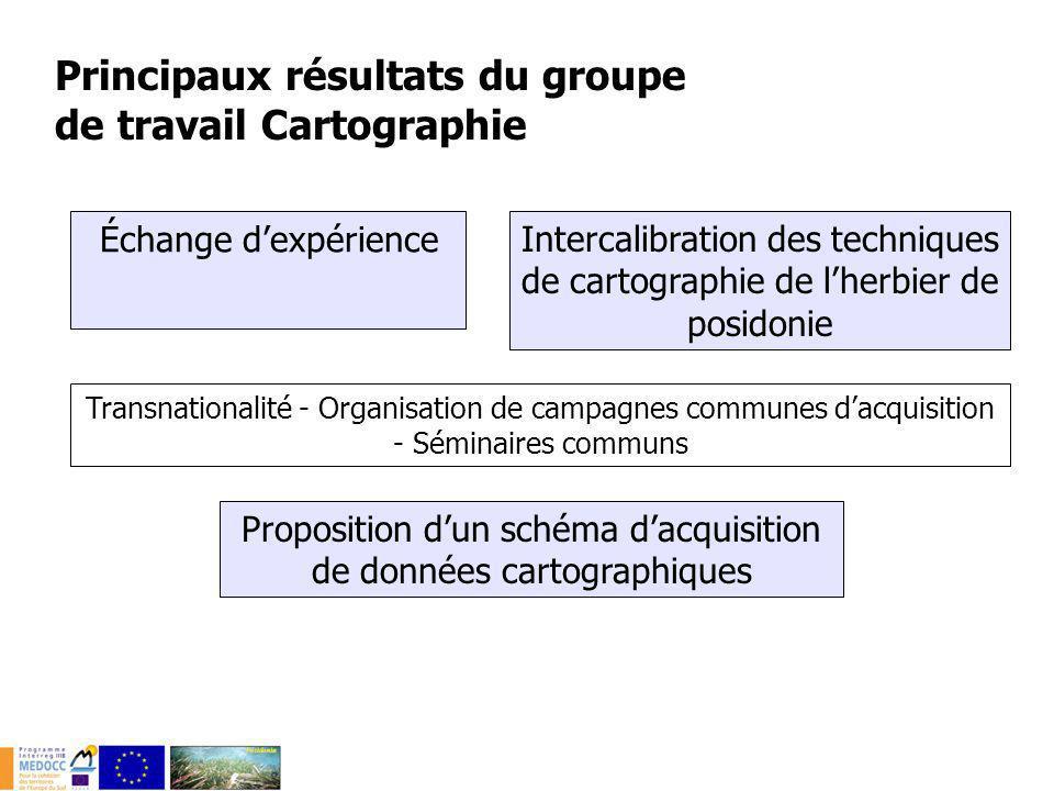 Principaux résultats du groupe de travail Cartographie Échange dexpérience Transnationalité - Organisation de campagnes communes dacquisition - Sémina