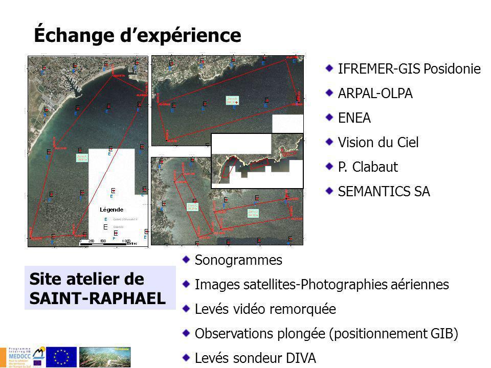 Site atelier de SAINT-RAPHAEL IFREMER-GIS Posidonie ARPAL-OLPA ENEA Vision du Ciel P. Clabaut SEMANTICS SA Sonogrammes Images satellites-Photographies