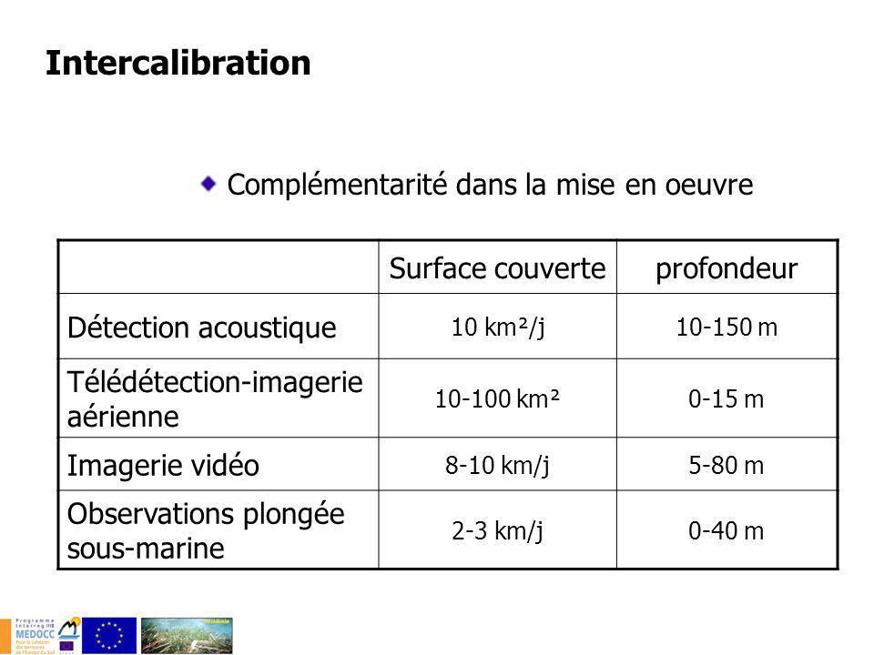 Complémentarité dans la mise en oeuvre Moyens logistique Moyens humains Détection acoustique +++ Télédétection-imagerie aérienne -+ Imagerie vidéo ++ Observations plongée sous-marine ++ Intercalibration