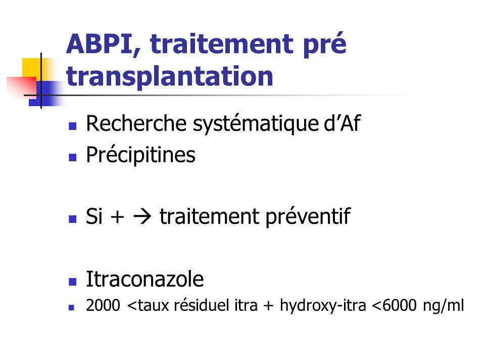 ABPI, traitement pré transplantation Recherche systématique dAf Précipitines Si + traitement préventif Itraconazole 2000 <taux résiduel itra + hydroxy