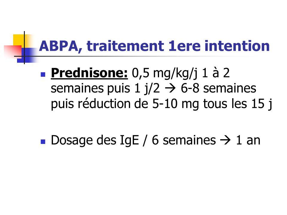 ABPA, traitement 1ere intention Prednisone: 0,5 mg/kg/j 1 à 2 semaines puis 1 j/2 6-8 semaines puis réduction de 5-10 mg tous les 15 j Dosage des IgE
