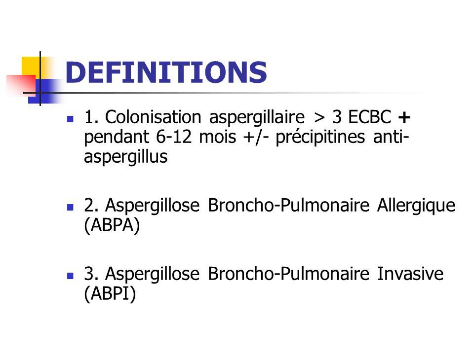 DEFINITIONS 1. Colonisation aspergillaire > 3 ECBC + pendant 6-12 mois +/- précipitines anti- aspergillus 2. Aspergillose Broncho-Pulmonaire Allergiqu