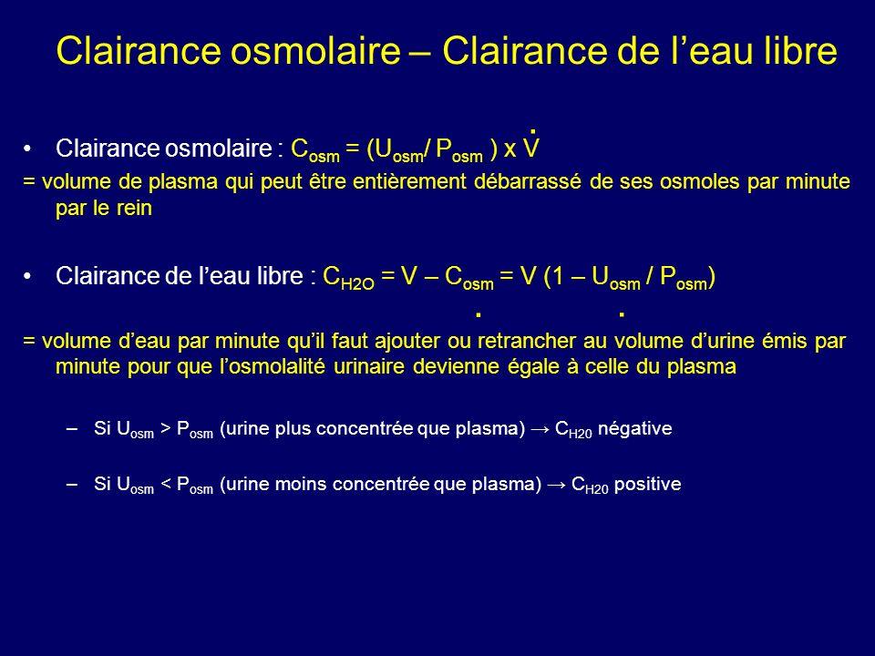 Clairance osmolaire – Clairance de leau libre Clairance osmolaire : C osm = (U osm / P osm ) x V = volume de plasma qui peut être entièrement débarras