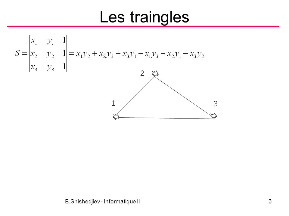 B.Shishedjiev - Informatique II3 Les traingles 1 3 2