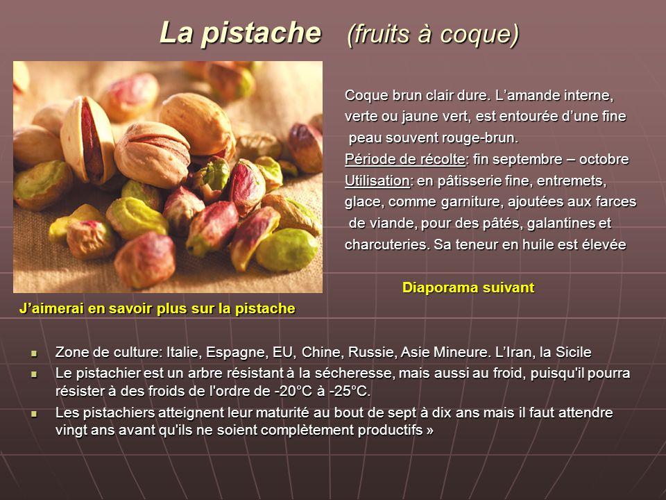 La pistache (fruits à coque) Coque brun clair dure.