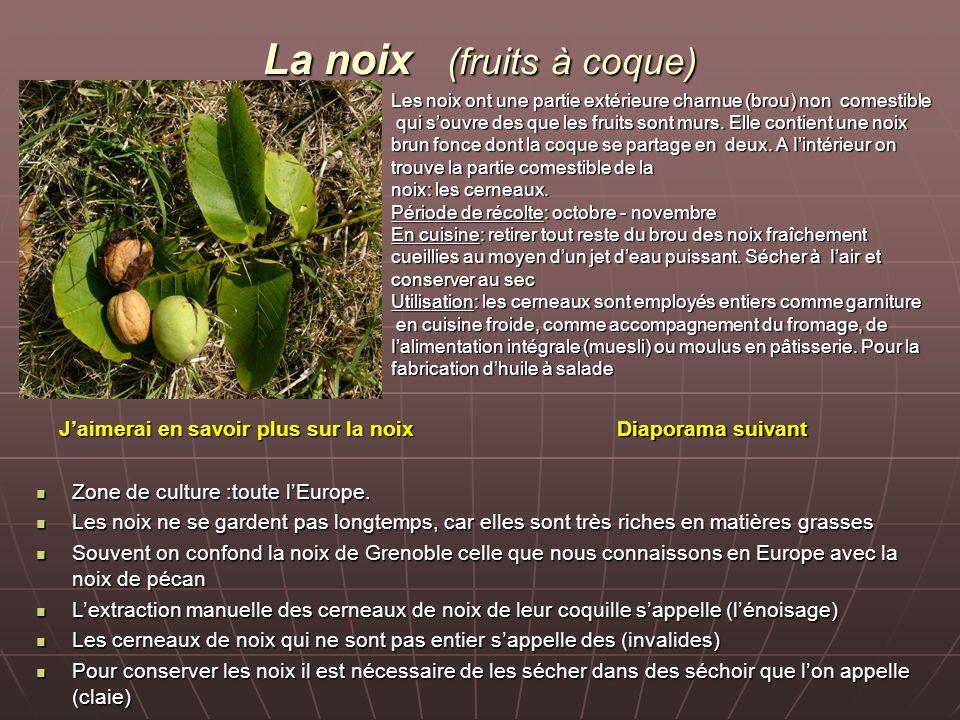 La noix (fruits à coque) Les noix ont une partie extérieure charnue (brou) non comestible qui souvre des que les fruits sont murs.