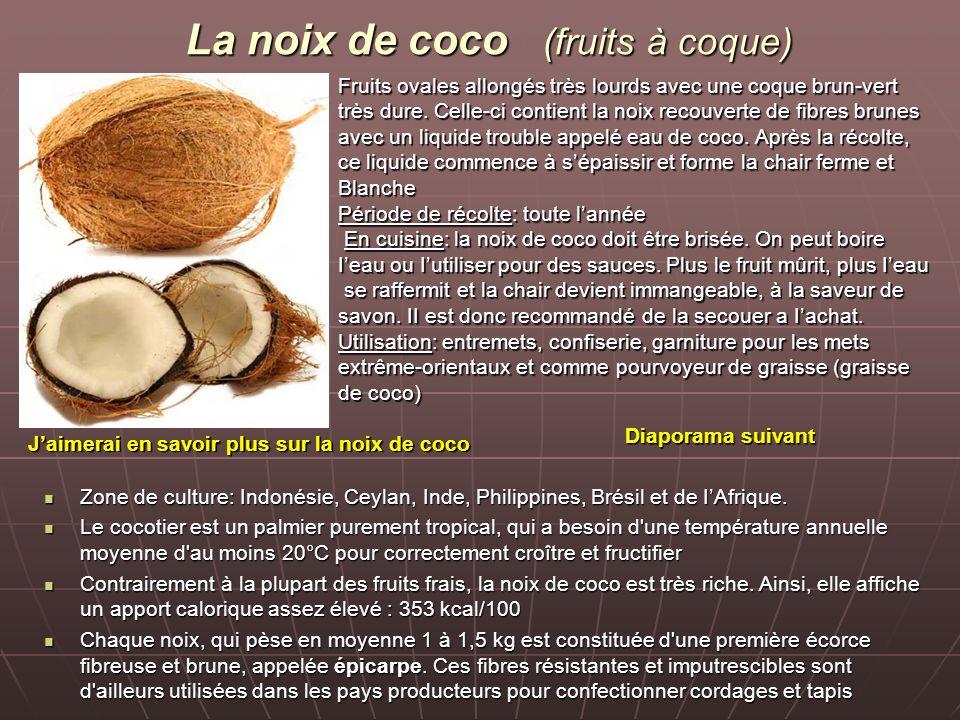 La noix de coco (fruits à coque) Fruits ovales allongés très lourds avec une coque brun-vert très dure.