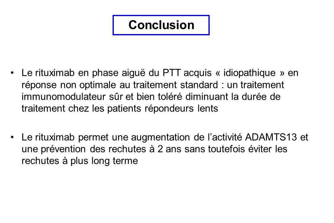 Le rituximab en phase aiguë du PTT acquis « idiopathique » en réponse non optimale au traitement standard : un traitement immunomodulateur sûr et bien