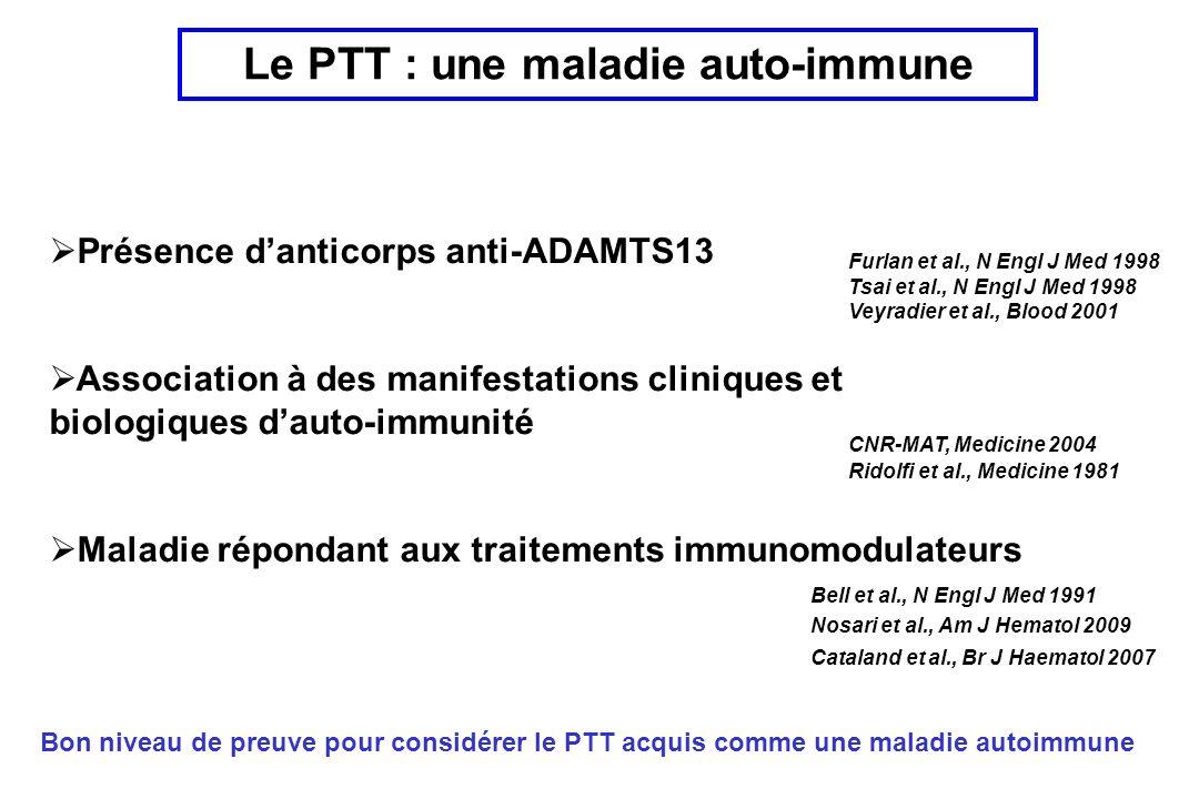 Le PTT : une maladie auto-immune Présence danticorps anti-ADAMTS13 Association à des manifestations cliniques et biologiques dauto-immunité Maladie répondant aux traitements immunomodulateurs Bon niveau de preuve pour considérer le PTT acquis comme une maladie autoimmune CNR-MAT, Medicine 2004 Furlan et al., N Engl J Med 1998 Tsai et al., N Engl J Med 1998 Veyradier et al., Blood 2001 Ridolfi et al., Medicine 1981 Bell et al., N Engl J Med 1991 Nosari et al., Am J Hematol 2009 Cataland et al., Br J Haematol 2007