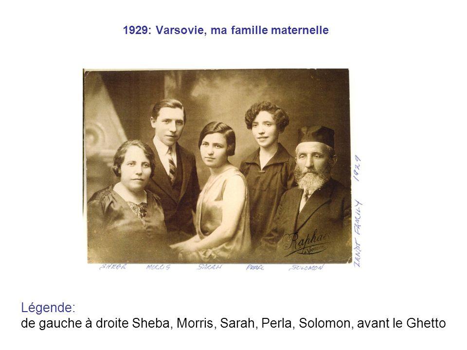 1929: Varsovie, ma famille maternelle Légende: de gauche à droite Sheba, Morris, Sarah, Perla, Solomon, avant le Ghetto