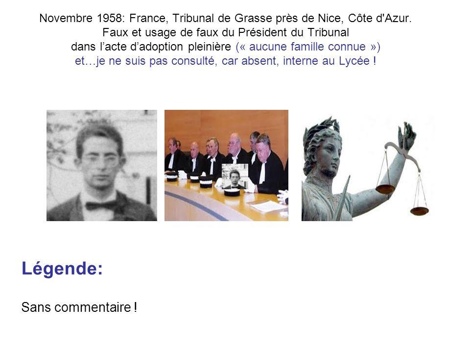 Novembre 1958: France, Tribunal de Grasse près de Nice, Côte d Azur.