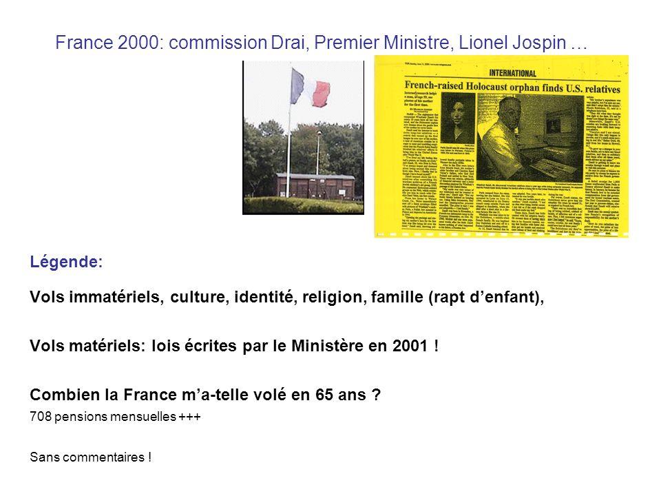 France 2000: commission Drai, Premier Ministre, Lionel Jospin … Légende: Vols immatériels, culture, identité, religion, famille (rapt denfant), Vols matériels: lois écrites par le Ministère en 2001 .