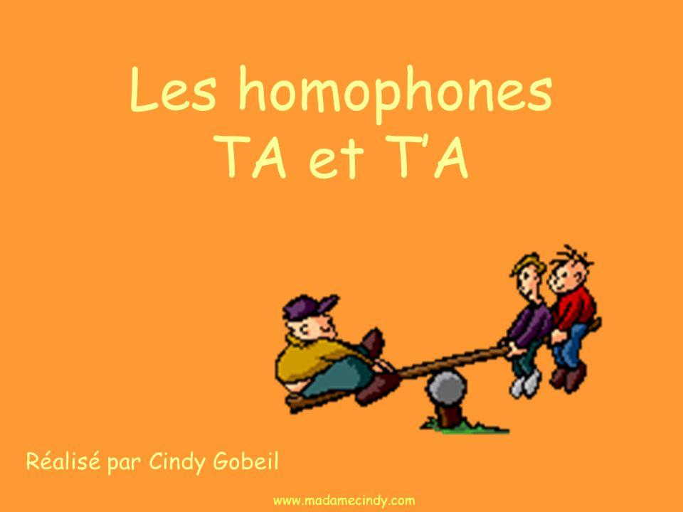 Les homophones TA et TA Réalisé par Cindy Gobeil www.madamecindy.com