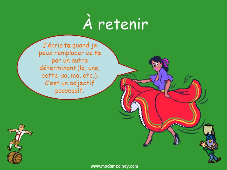 À retenir Jécris ta quand je peux remplacer ce ta par un autre déterminant (la, une, cette, sa, ma, etc.). Cest un adjectif possessif. www.madamecindy