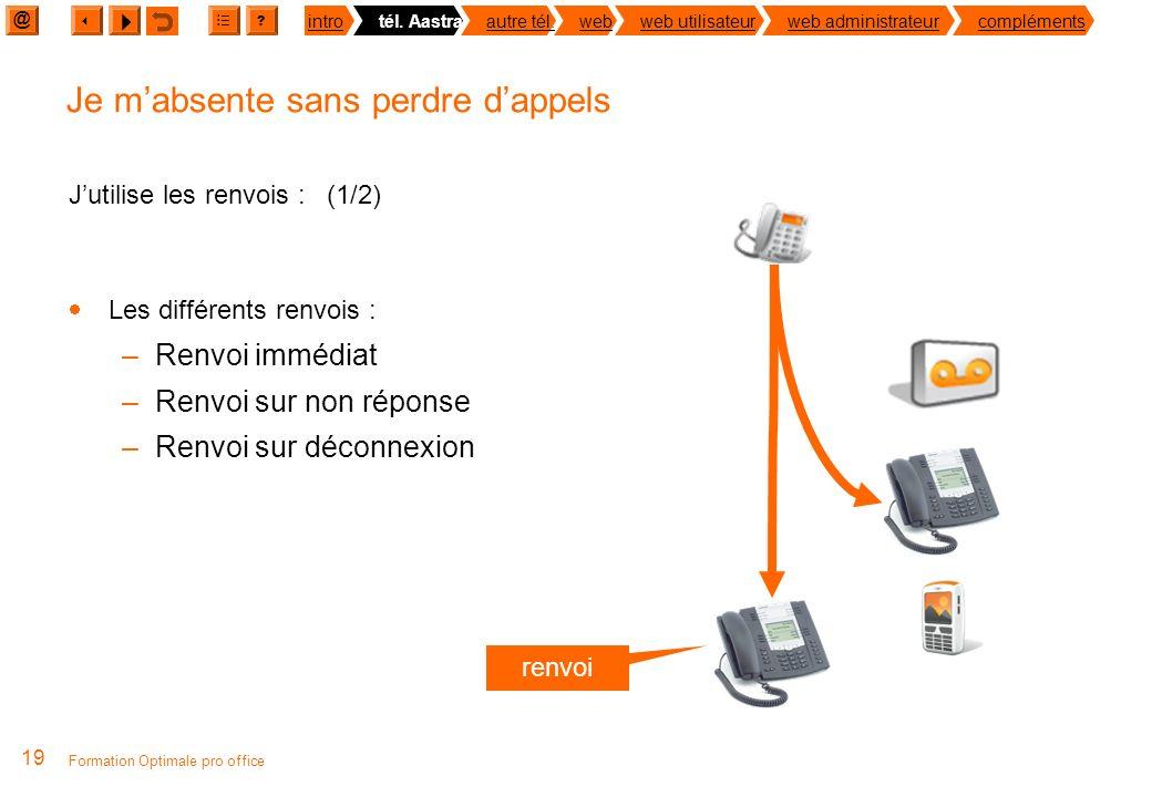 @ ? introtél. Aastraautre tél.webweb utilisateurweb administrateurcompléments 18 Formation Optimale pro office Différentes solutions : Avant mon dépar
