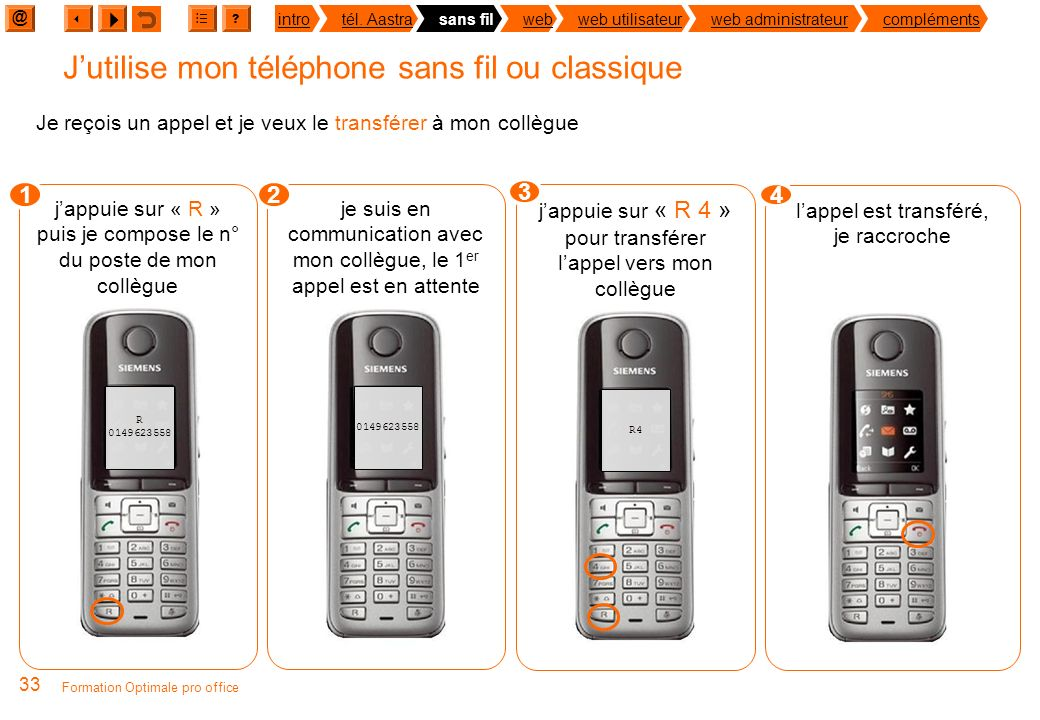 @ ? introtél. Aastrasans filwebweb utilisateurweb administrateurcompléments 32 Formation Optimale pro office Jutilise mon téléphone sans fil ou classi