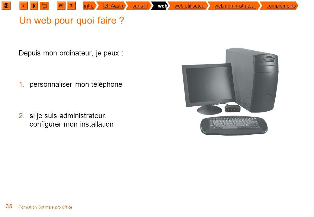 @ ? introtél. Aastrasans filwebweb utilisateurweb administrateurcompléments Formation Optimale pro office 34 Un web pour ma téléphonie Pour quoi faire