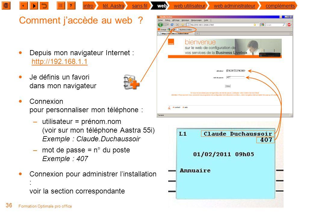 @ ? introtél. Aastrasans filwebweb utilisateurweb administrateurcompléments 35 Formation Optimale pro office Un web pour quoi faire ? Depuis mon ordin
