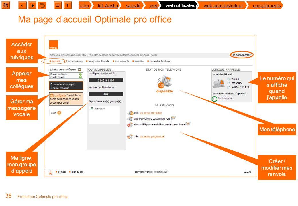 @ ? introtél. Aastrasans filwebweb utilisateurweb administrateurcompléments Formation Optimale pro office 37 Je personnalise mon téléphone via le web