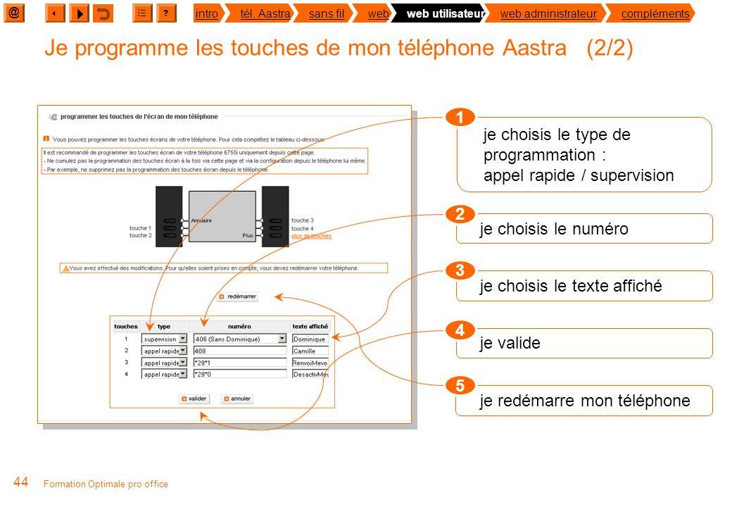 @ ? introtél. Aastrasans filwebweb utilisateurweb administrateurcompléments 43 Formation Optimale pro office 4 touches écran personnalisables Objectif