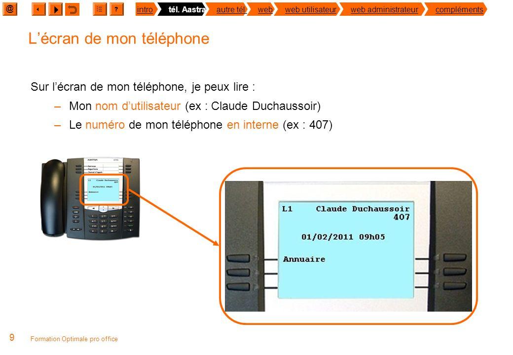 @ ? introtél. Aastraautre tél.webweb utilisateurweb administrateurcompléments 8 Formation Optimale pro office Le raccordement de mon téléphone Raccord