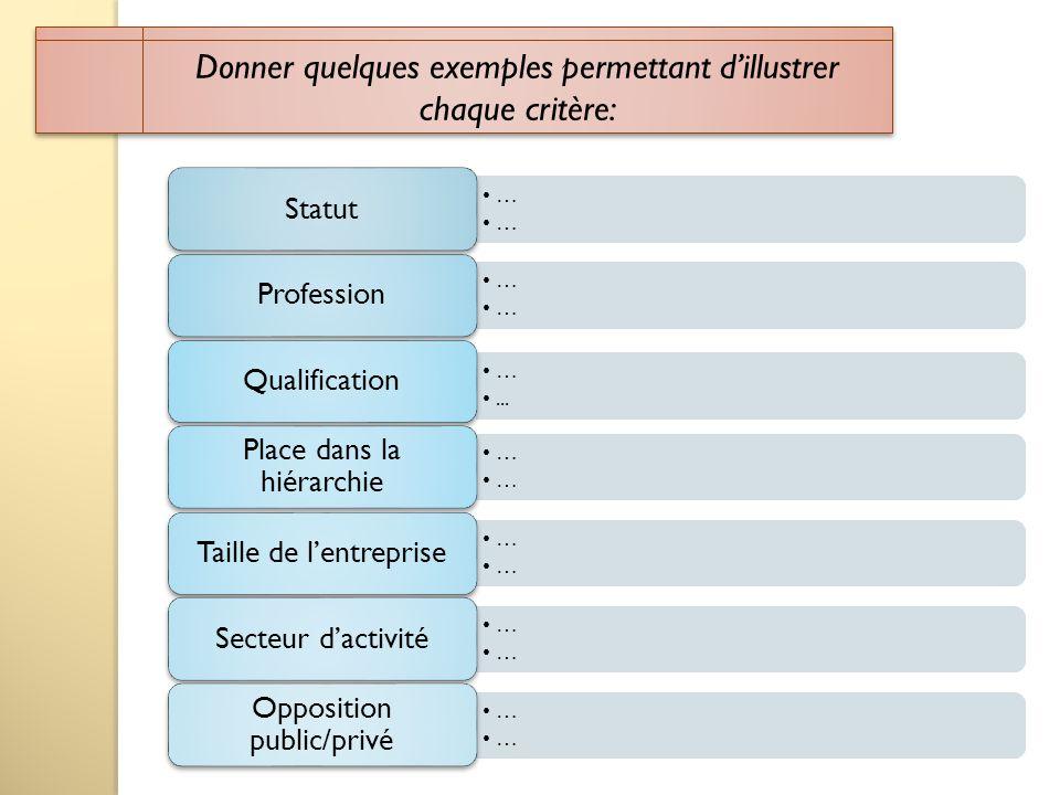Donner quelques exemples permettant dillustrer chaque critère: … Statut … Profession …... Qualification … Place dans la hiérarchie … Taille de lentrep