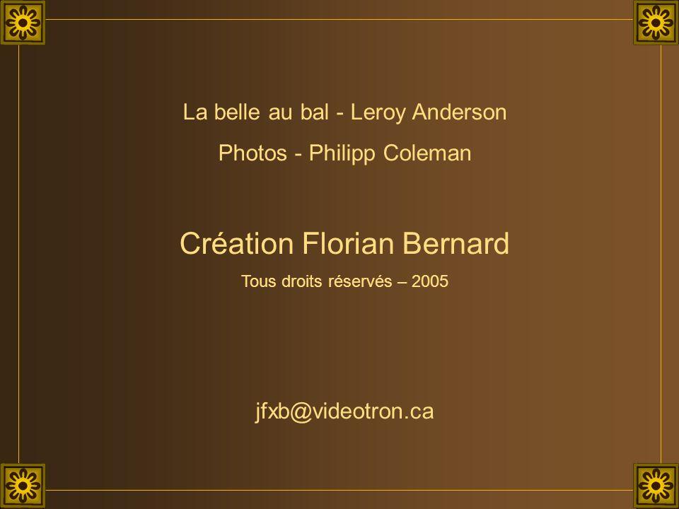 La belle au bal - Leroy Anderson Photos - Philipp Coleman Création Florian Bernard Tous droits réservés – 2005 jfxb@videotron.ca