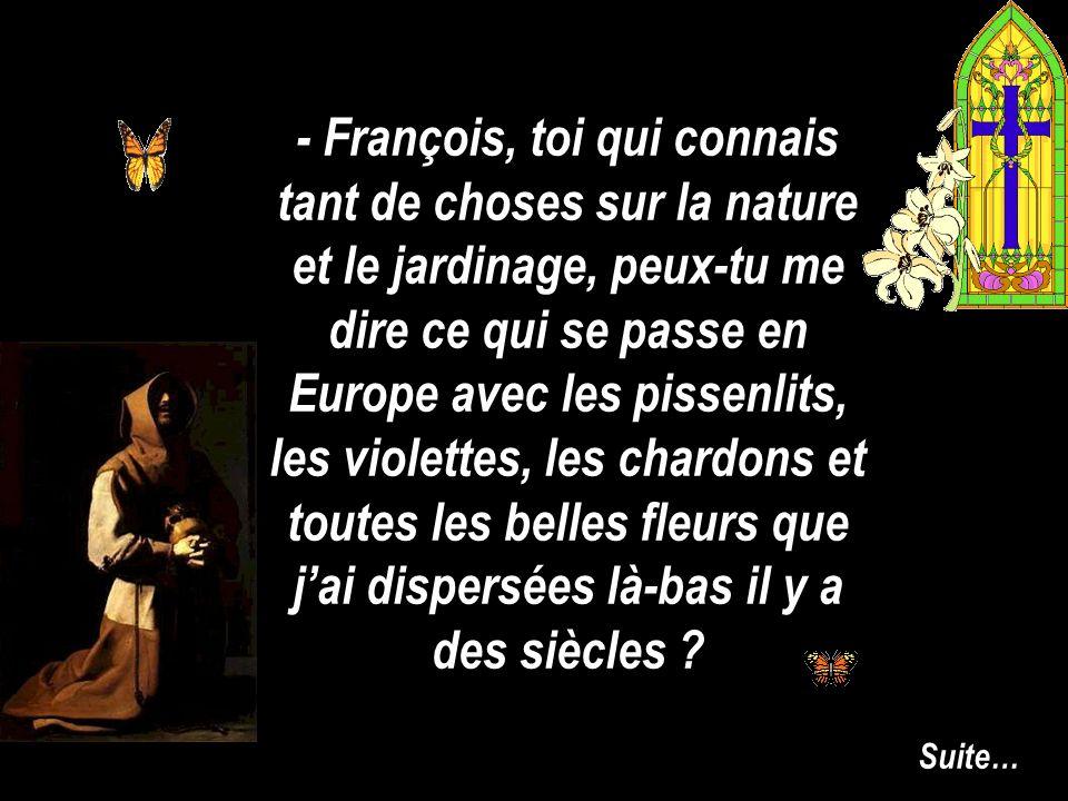 - François, toi qui connais tant de choses sur la nature et le jardinage, peux-tu me dire ce qui se passe en Europe avec les pissenlits, les violettes, les chardons et toutes les belles fleurs que jai dispersées là-bas il y a des siècles .