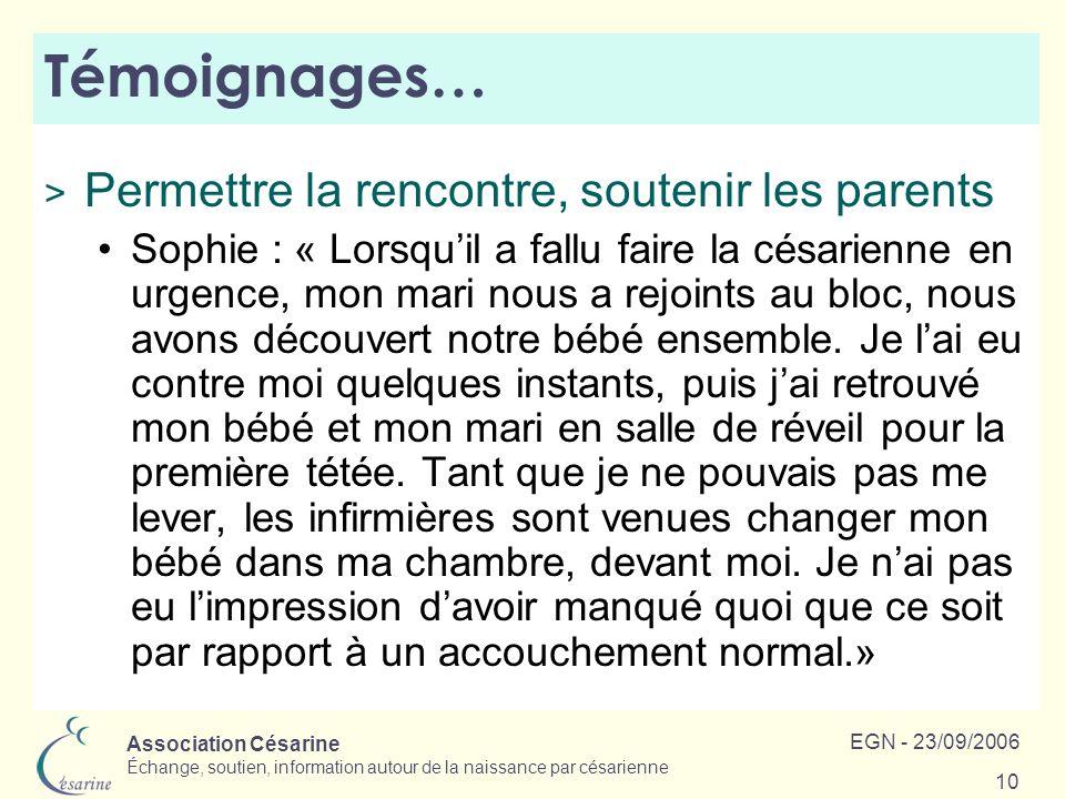 Association Césarine Échange, soutien, information autour de la naissance par césarienne EGN - 23/09/2006 10 Témoignages… > Permettre la rencontre, so