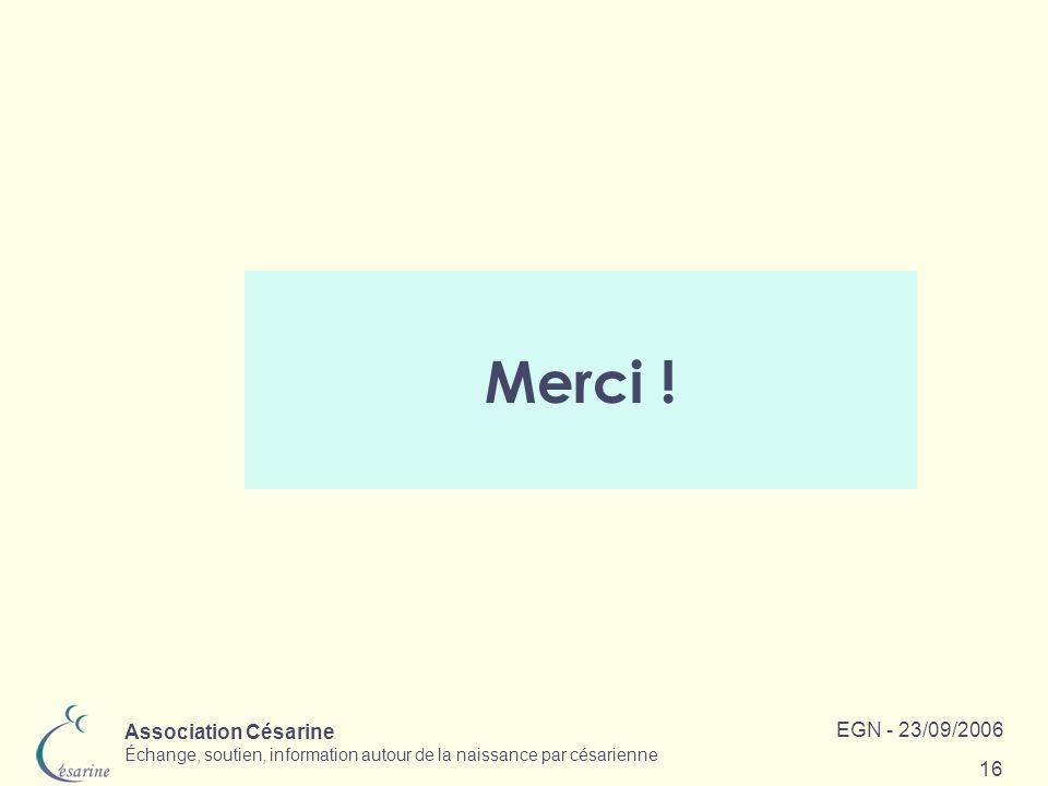 Association Césarine Échange, soutien, information autour de la naissance par césarienne EGN - 23/09/2006 16 Merci !