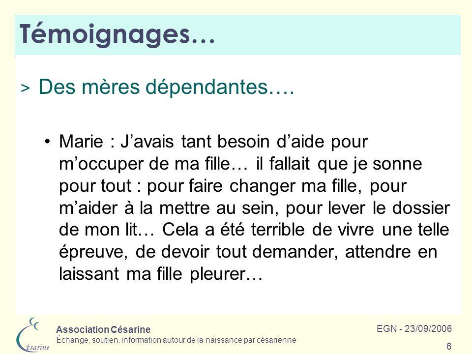 Association Césarine Échange, soutien, information autour de la naissance par césarienne EGN - 23/09/2006 6 Témoignages… > Des mères dépendantes…. Mar