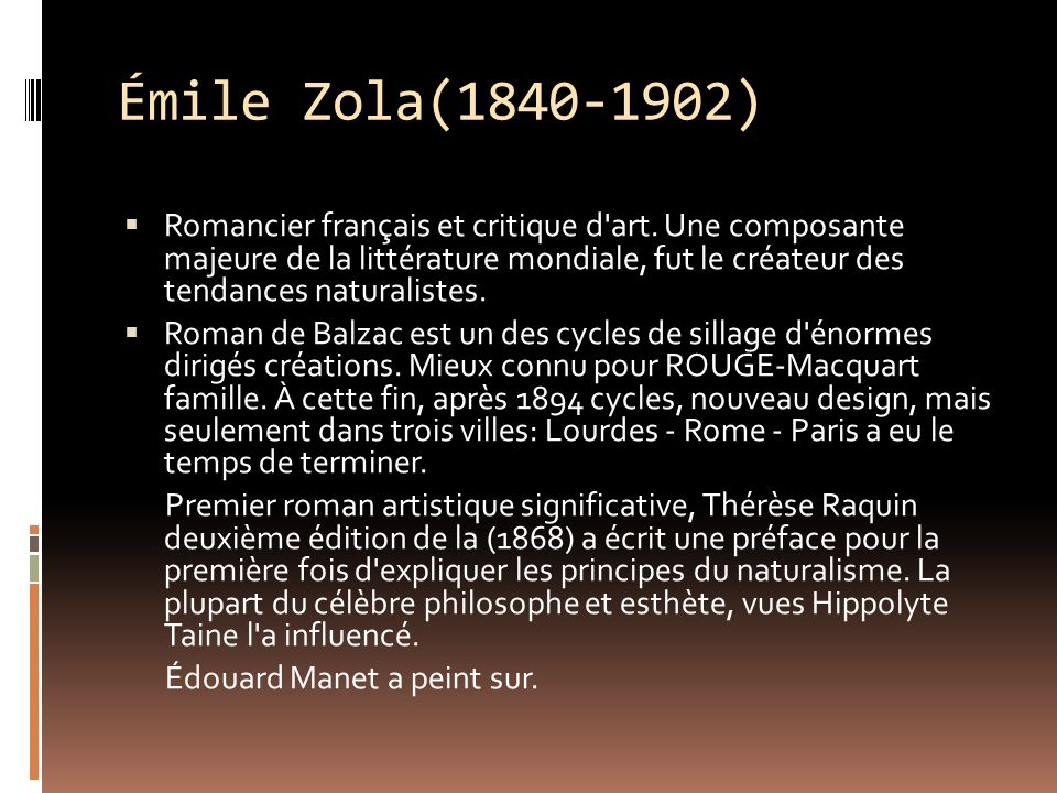 Émile Zola(1840-1902) Romancier français et critique d art.