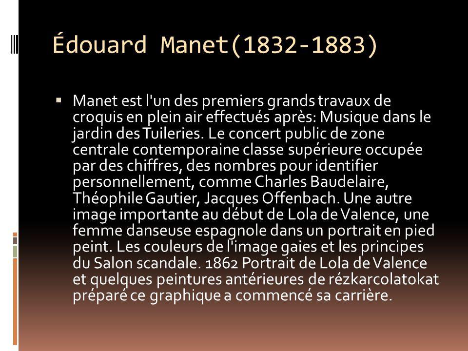 Édouard Manet(1832-1883) Manet est l un des premiers grands travaux de croquis en plein air effectués après: Musique dans le jardin des Tuileries.
