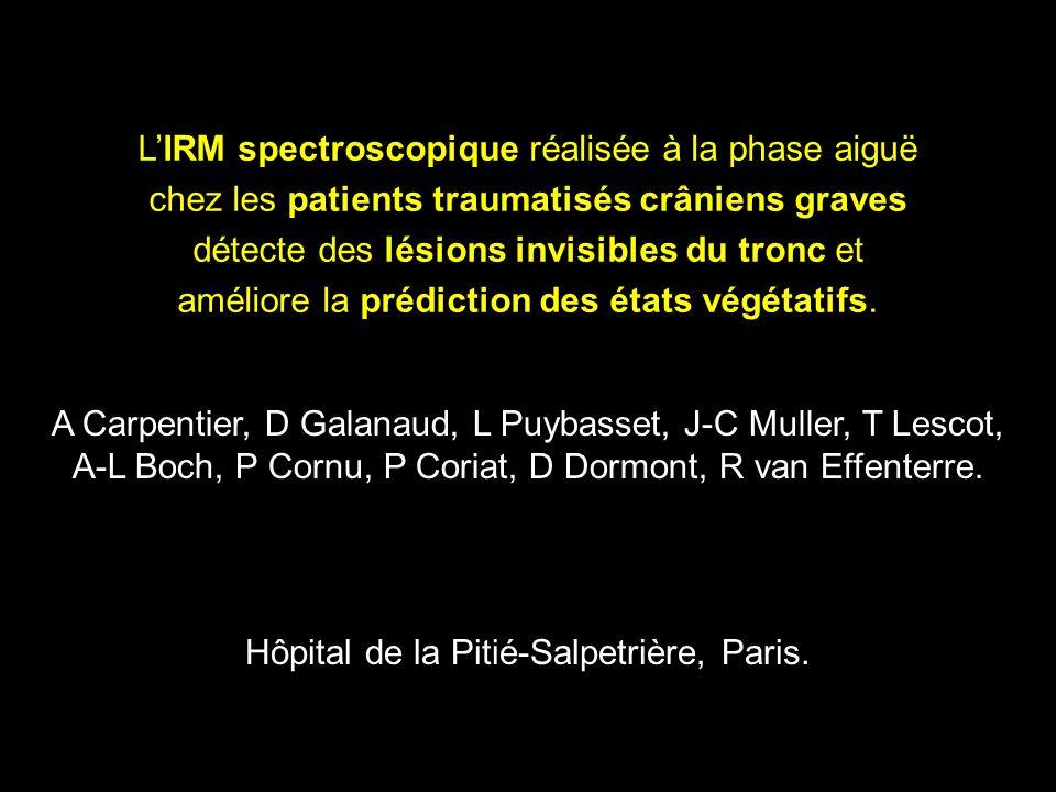 LIRM spectroscopique réalisée à la phase aiguë chez les patients traumatisés crâniens graves détecte des lésions invisibles du tronc et améliore la prédiction des états végétatifs.
