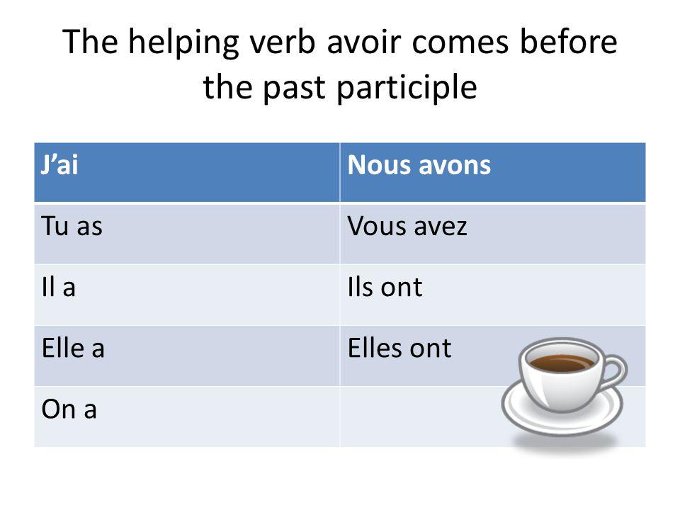 The helping verb avoir comes before the past participle JaiNous avons Tu asVous avez Il aIls ont Elle aElles ont On a
