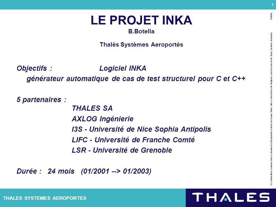 THALES SYSTEMES AEROPORTES Les informations contenues dans ce document sont la propriété exclusive du Groupe Thales. Elles ne doivent pas être divulgu