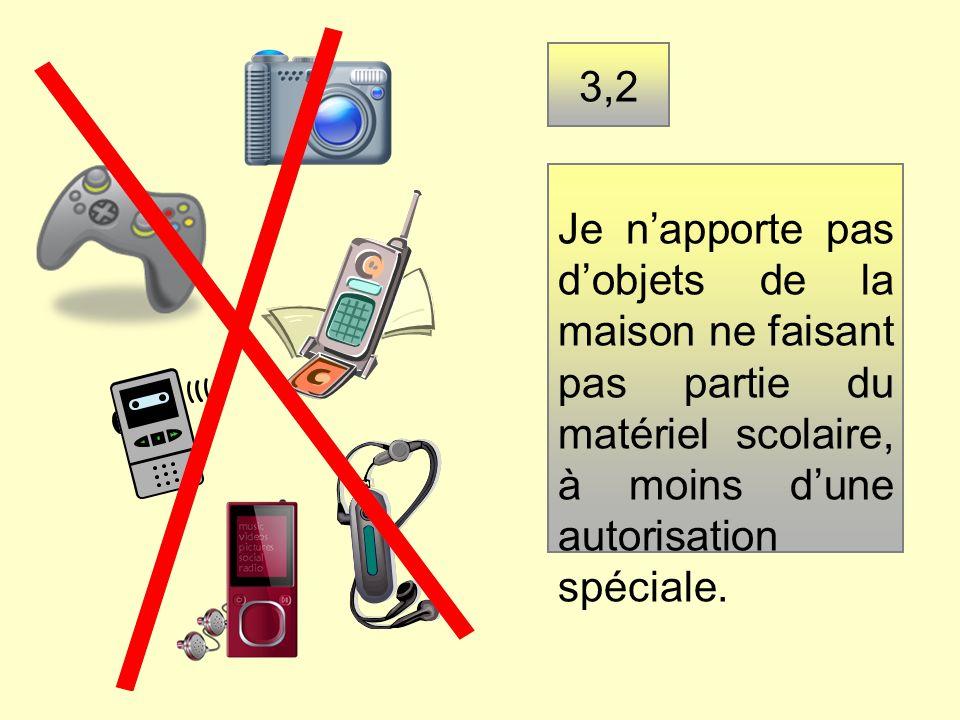 3,2 Je napporte pas dobjets de la maison ne faisant pas partie du matériel scolaire, à moins dune autorisation spéciale.
