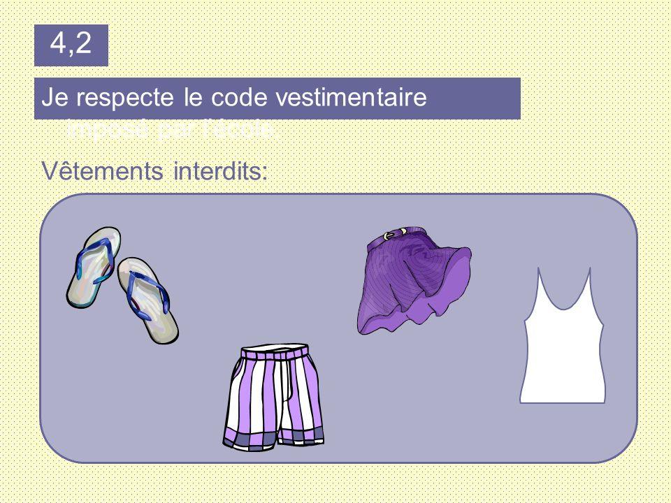 Je respecte le code vestimentaire imposé par lécole. Vêtements interdits: 4,2
