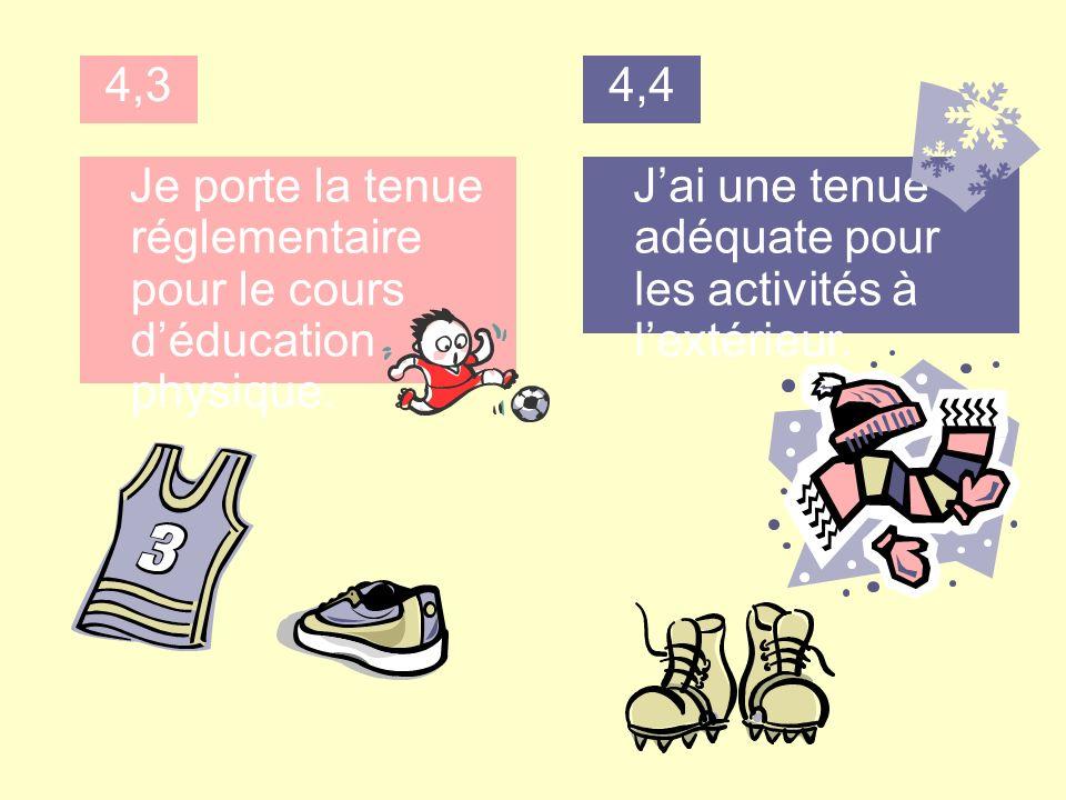 4,3 Je porte la tenue réglementaire pour le cours déducation physique.