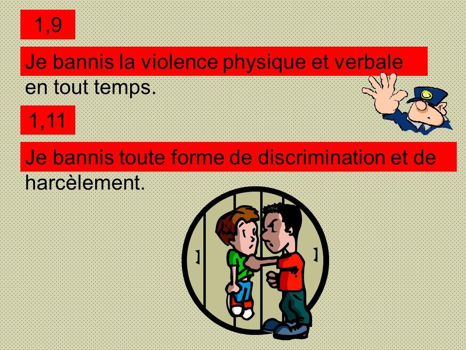 Je bannis la violence physique et verbale en tout temps.