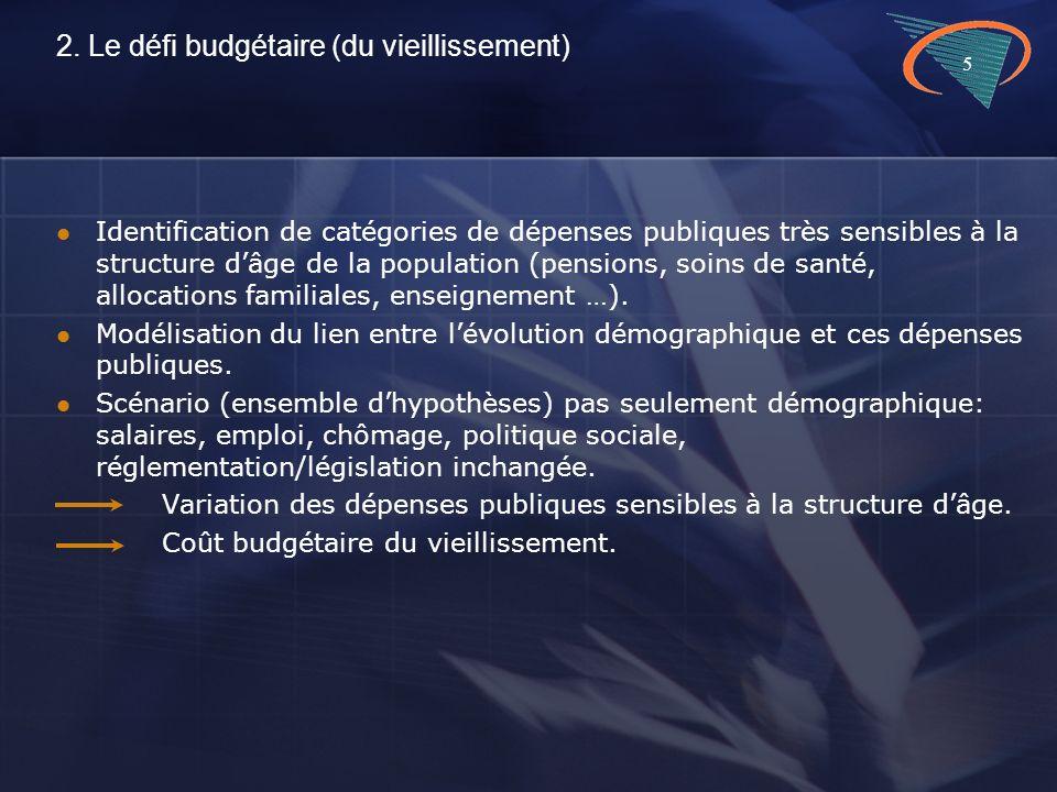 5 2. Le défi budgétaire (du vieillissement) Identification de catégories de dépenses publiques très sensibles à la structure dâge de la population (pe
