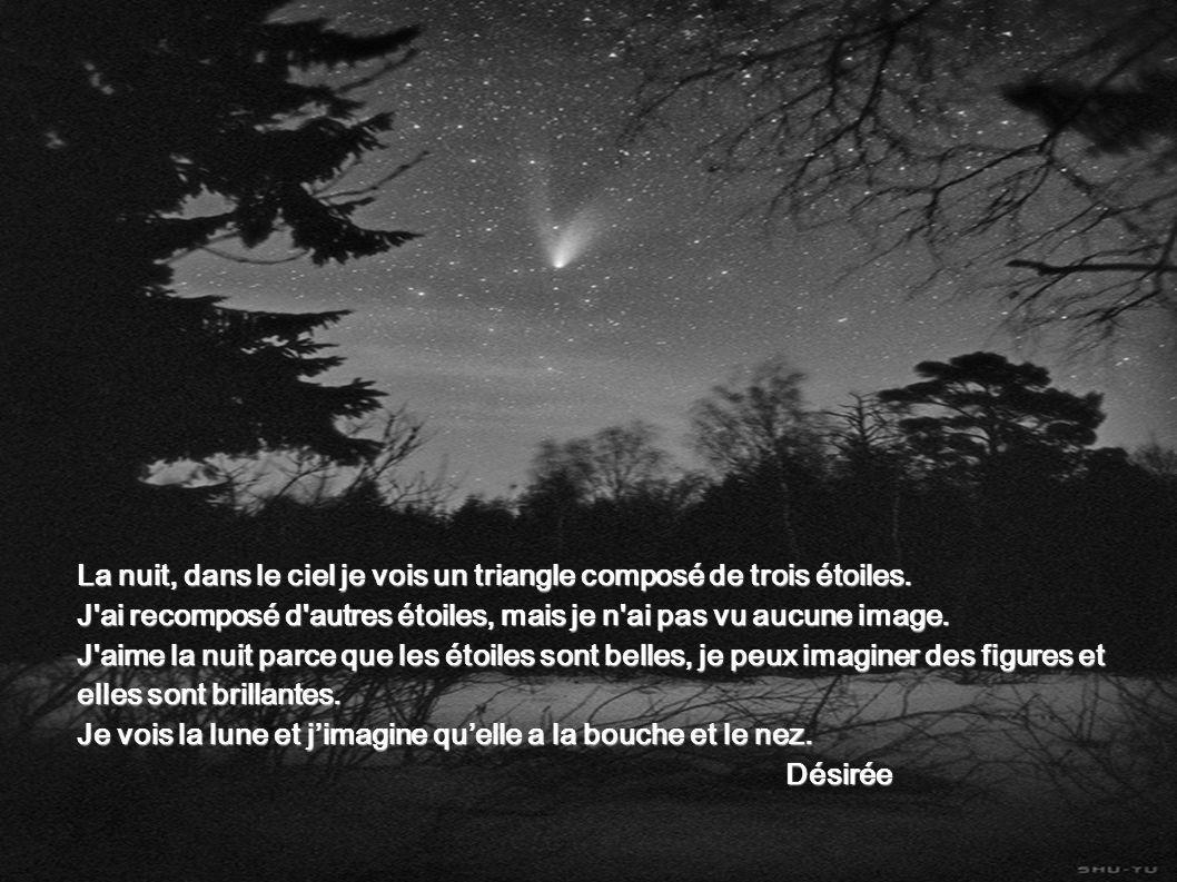 La nuit, dans le ciel je vois un triangle composé de trois étoiles. J'ai recomposé d'autres étoiles, mais je n'ai pas vu aucune image. J'aime la nuit