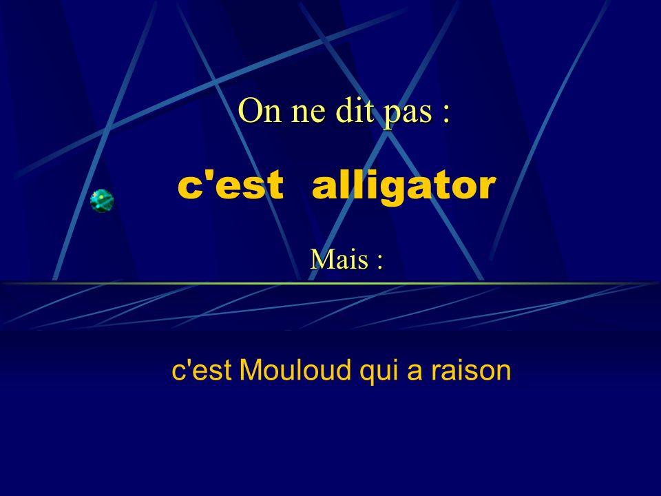 c'est alligator c'est Mouloud qui a raison On ne dit pas : Mais :