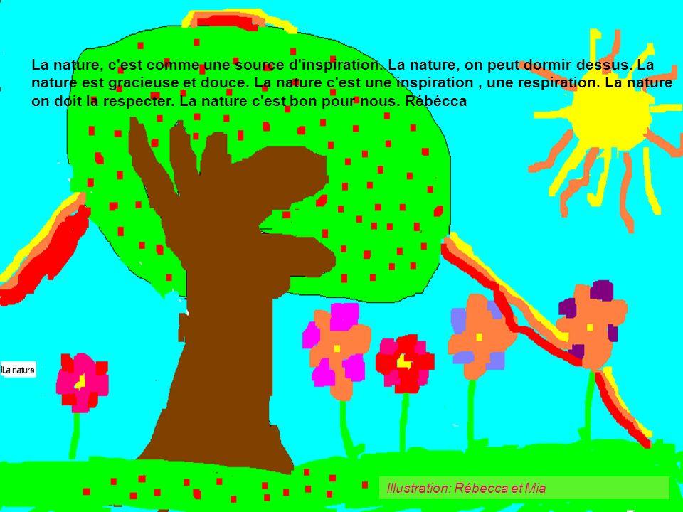 Illustration: Rébecca et Mia La nature, c'est comme une source d'inspiration. La nature, on peut dormir dessus. La nature est gracieuse et douce. La n