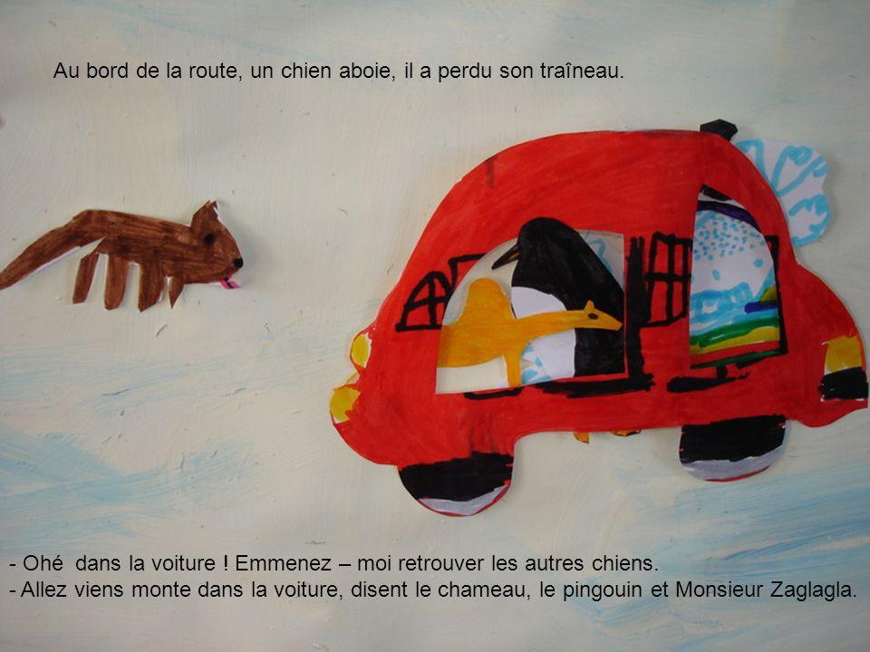 - Ohé dans la voiture ! Emmenez – moi retrouver les autres chiens. - Allez viens monte dans la voiture, disent le chameau, le pingouin et Monsieur Zag
