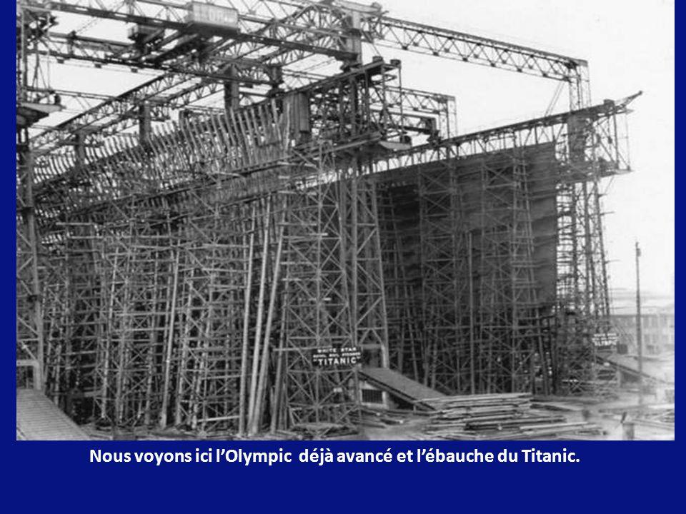 Pour la construction de lOlympic et du Titanic, un immense portique en acier. La structure était surmontée dune grue et de 4 ascenseurs électriques, p