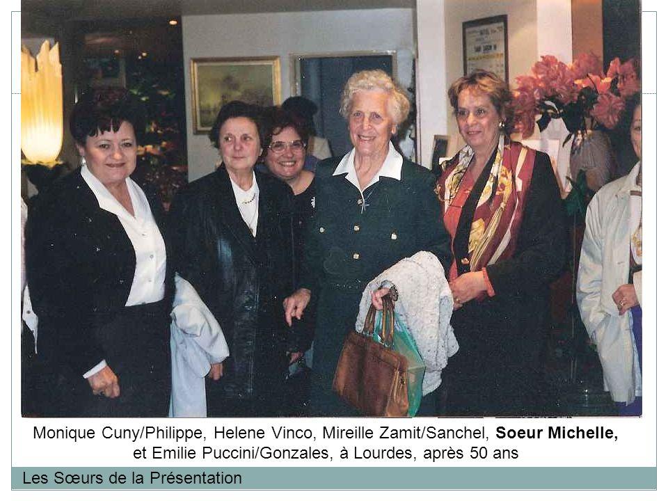 Les Sœurs de la Présentation Monique Cuny/Philippe, Helene Vinco, Mireille Zamit/Sanchel, Soeur Michelle, et Emilie Puccini/Gonzales, à Lourdes, après 50 ans