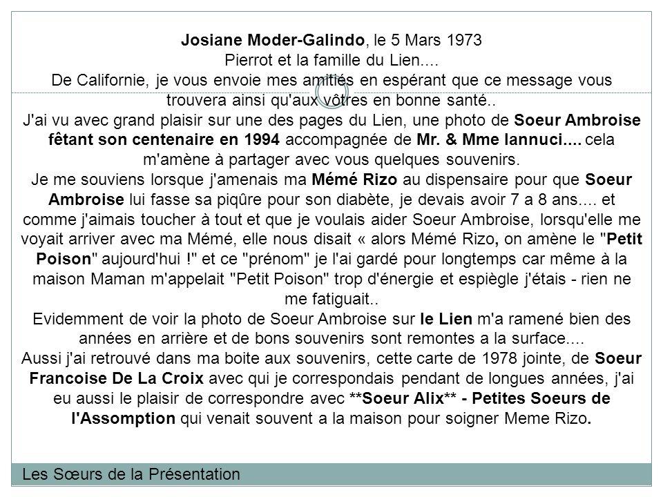 Les Sœurs de la Présentation Josiane Moder-Galindo, le 5 Mars 1973 Pierrot et la famille du Lien....