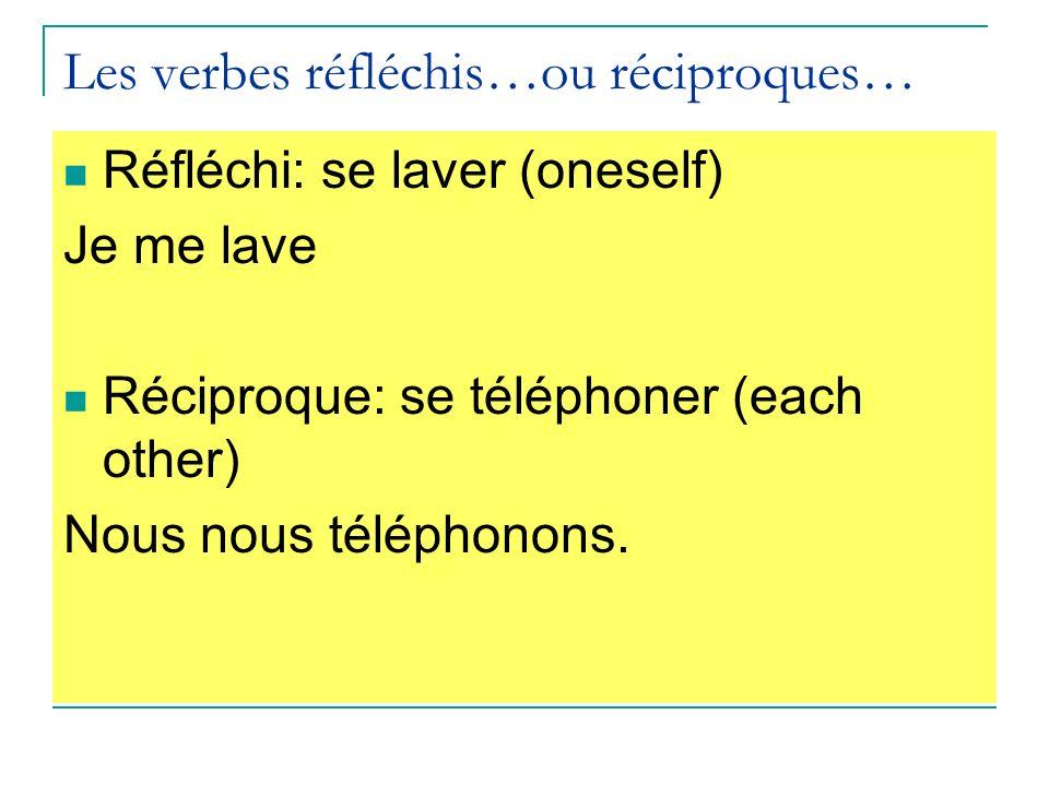 Les verbes réfléchis…ou réciproques… Réfléchi: se laver (oneself) Je me lave Réciproque: se téléphoner (each other) Nous nous téléphonons.